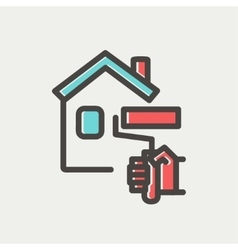 House painting using paint roller thin line icon vector