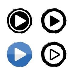 Play music icons buttons white and black vector