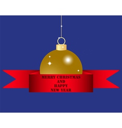 Christmas ball in red silk ribbon vector