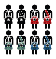 Scotsman man wearing kilt icons set vector