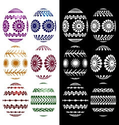Set of easter eggs silhouettes vector