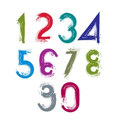 Calligraphic brush numbers hand-painted bright vector