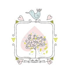 Cute fame with bird and tree vector