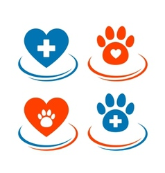 Set of veterinary symbols heart cross and paw vector