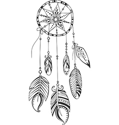 Dreamcatcher painted by hand vector