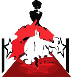 Woman silhouette on a red carpet isabelle series vector