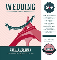 Wedding invitation paris vector