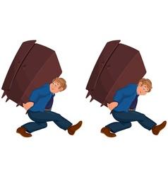 Happy cartoon man walking with heavy furniture vector