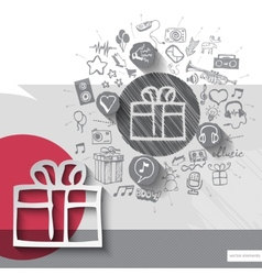 Hand drawn gift box icons with icons background vector