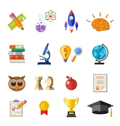 Online education flat icon set vector