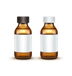 Glass medical bottle with liquid fluid vector