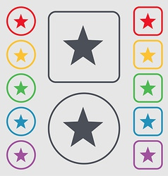 Star favorite icon sign symbol on the round and vector
