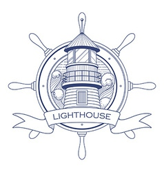 Nautical logo with a lighthouse and steering wheel vector