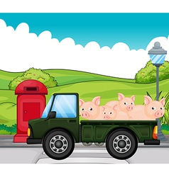 A green vehicle with pigs at the back vector
