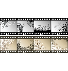 Floral film strips vector