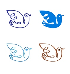 Set of four birds for various signs vector
