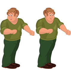 Happy cartoon man standing in green pants and vector