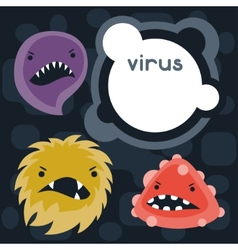 Background with little angry viruses and monsters vector
