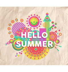 Hello summer quote poster design vector