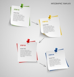 Info graphic with note paper template vector