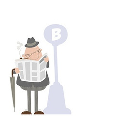 Man smoking a pipe and reading a newspaper vector