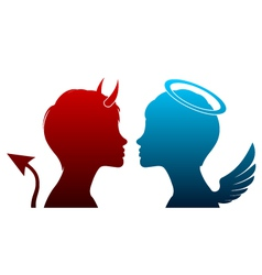 Angel and devil silhouette vector