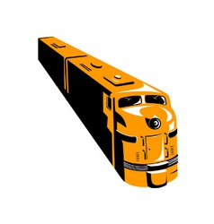 Diesel train high angle retro vector