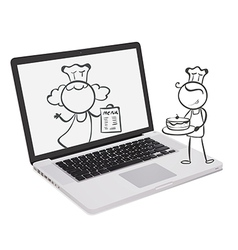 A laptop with an image of chefs vector