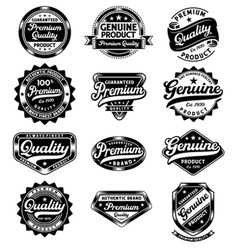 Set of premium quality and genuine vintage labels vector