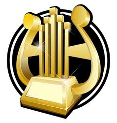 Golden award statuette golden harp vector