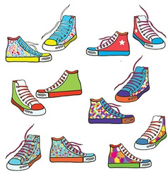 Set of sneakers with pattern funny vector
