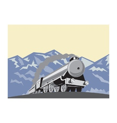 Steam train locomotive mountains retro vector