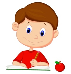Cute boy cartoon writing on a book vector