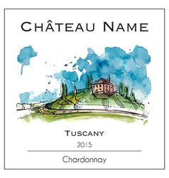 Wine lable with a watercolor of tuscany vector