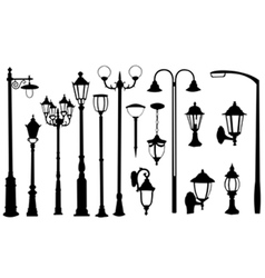 Street light silhouettes vector
