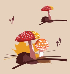 Forest poisonous mushrooms fly agarics vector