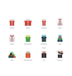 Gift box icons on white background vector