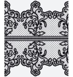 Seamless wide lace ribbon with openwork flowers vector