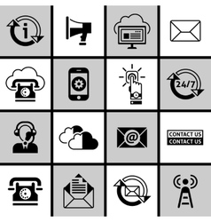 Contact us icons set black and white vector
