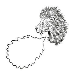 Drawing lion speech bubble vector