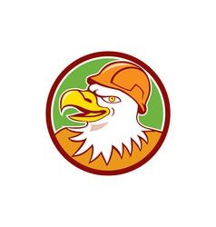 Bald eagle construction worker head circle cartoon vector