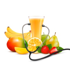Group of fruit and a stethoscope dieting concept vector