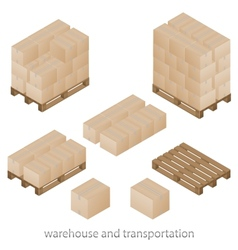 Boxes and pallets vector