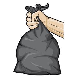 Hand holding black plastic trash bag vector