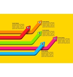 Intersecting colorful numbered graph arrows rising vector