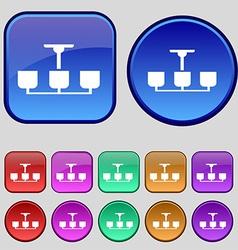 Chandelier light lamp icon sign a set of twelve vector