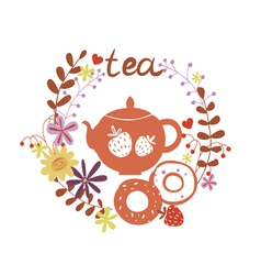 Design with tea pot and sweets vector