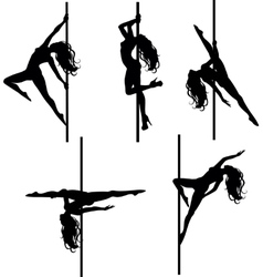 Five pole dancers silhouettes vector