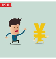 Business man trying to catch money - - eps1 vector