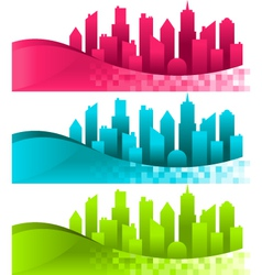 Silhouette cities and banners vector